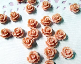 Coral 10mm rose flower cabochons, cute cabs for embellishment and jewelry