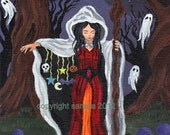 Crone's Secret Halloween witch art reproduction gothic PRINT, 5 x7 spooky cute art with ghost, moon and star charms