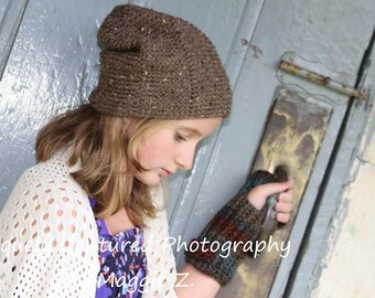 Pattern Directions for Making a Crochet Urban Tweed Beanie Slouch Hat Cap for Teen Adult in PDF Instant Download