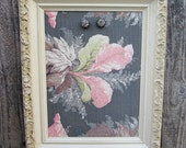 Vintage Frame turned Magnetic Memo Board Inspiration Board Floral Barkcloth