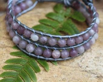 Lilac Stone Leather Wrap Bracelet