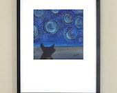 """Sky - cat night sky signed print 10x10"""" in 16x20"""" matte"""
