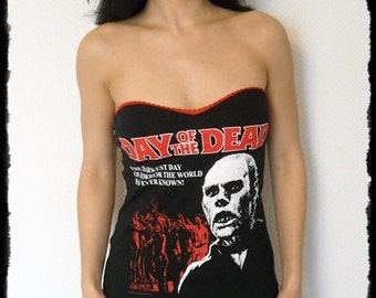 Day of the Dead shirt lace up top halloween horror movie clothing zombie shirt alternative apparel gothic clothing