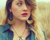 Gold Half Moon Earrings, Kyanite Dangle Earrings, Hammered Copper Earrings, Healing Crystal Earrings, Crescent Moon Earrings, Gold Moons