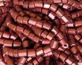 7mm (2mm Hole) SILKY Old Copper Six Sided Irregular Cut (non-uniform) Czech Glass Tile Bead Strand (AW158)