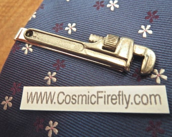 Men's Tie Clip Pipe Wrench Tie Clip Men's Gifts For Him Dad Gift Grandpa Plumber's Gift Steampunk Tie Clip