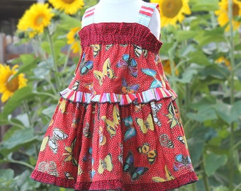 Sparkling Butterfly Girls Red Dress Colorful Little Girls Dress Cotton Kids Clothes Boutique Girl Clothing Size 2T 3T 4 5 6 7 8 10 12 14