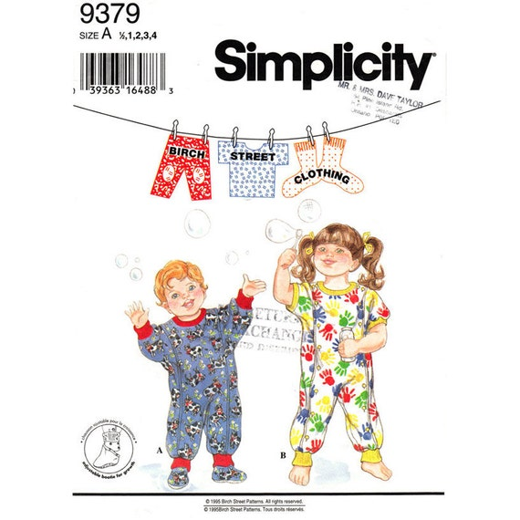 Toddler Romper Pattern Simplicity 9379 Jumper Booties Birch Street Clothing Size 1/2 1 2 3 4