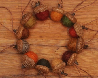 Wool Felted Acorns in Fall Colors,  Set of 12 Acorns OR Acorn Ornaments