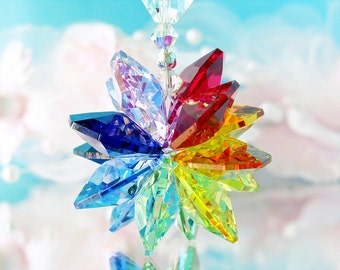 Chakra Rainbow Suncatcher Rear View Mirror Charm Swarovski Crystal Car Accessories