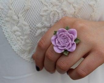 Large Purple Adjustable Flower Ring.