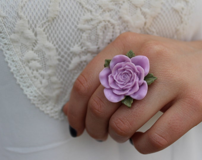 Large Purple Adjustable Flower Ring.