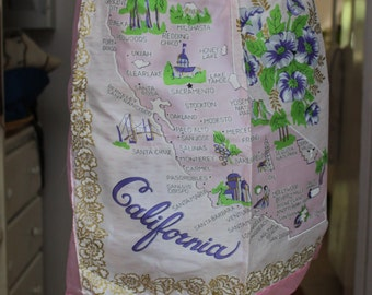 Cocktail Half Apron Map of California Pink Rayon Unused VINTAGE by Plantdreaming