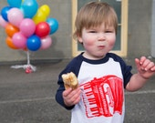 Accordion Squeezebox Kids Navy Sleeve Raglan Shirts Sizes 2, 4 and 6