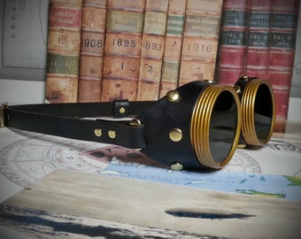 Steampunk Goggles Brass & Black Leather - The Commander , Dieselpunk, Adventurer, Time Traveller, Explorer, Airship, Kraken, Burning Man