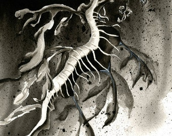 SALE Seadragon Original Art, Black and White Watercolor Painting, Leafy Seadragon Watercolor, Seahorse Art, Marine Life Watercolor Wall Art