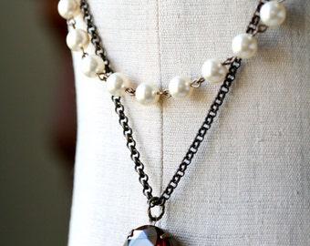 Topaz Necklace, Estate Style Necklace, Pearl Necklace, Swarovski Pearl Necklace