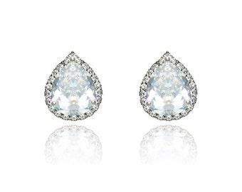 Bridal Earrings Bridesmaid Earrings Teardrop Stud Wedding Earrings Cubic Zirconia Earrings Wedding Jewelry Sterling Silver Post