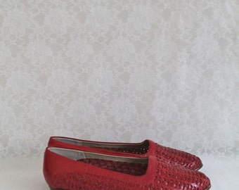 vintage 80s woven leather shoes - MAPLE red leather skimmers / sz 8