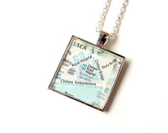 SALE: Chelsea Hospital Necklace, London Map Pendant, Chelsea Flower Show, Map Jewelry, Resin Jewelry, London Jewelry, UK (1353)