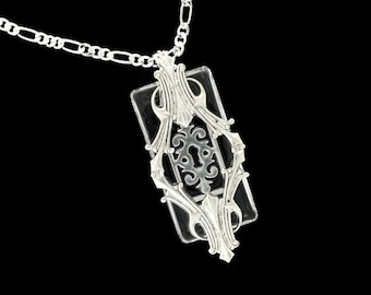 Steampunk Necklace Imperial Passages with Escutcheon by Dr Brassy Steampunk Glass and Art Deco Silver Plated Brass