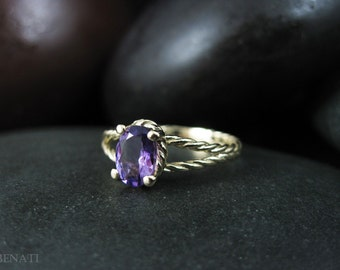 Twisted Rope Amethyst Ring, Rope Engagement Ring, Gold Braided Engagement Ring, 14k Gold Purple Natural Gemstone, Gold Twisted Infinity Ring