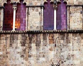 Architectural Photo - Fine Art Photography, Siena, Italy, medieval, gothic, windows, architecture, home decor, Italy art, print, purple, ar