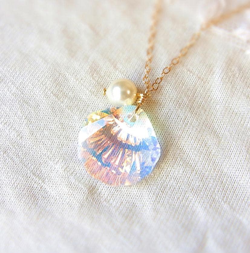 Make Your Own Seashell Jewelry: Jewel Of Mermaid . Swarovski Crystal Seashell Necklace In