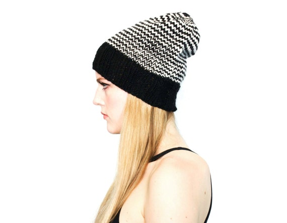 Black & White Striped Beanie, hand knit by Westlake Designs, graphic knitted hat