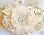 Bridal Headpiece, Bridal Hair Flower, Lace, Tulle, Feather, Crystal, Pearl, Bridal Hair Accessory, Wedding Flower Headpiece