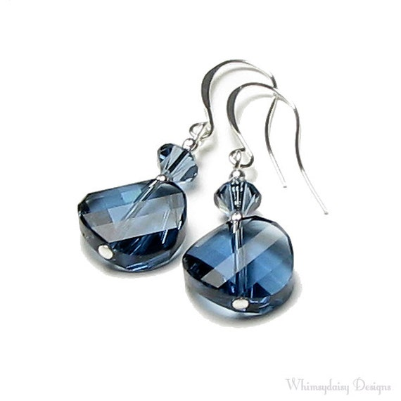 Country Twist Blue Denim Swarovski Crystal Silver Dangle Earrings Modern Western Casual Summer Jeans Jewelry For Women Night Out Gift Boxed