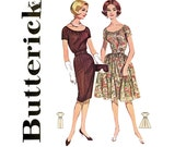 1960s Dress Pattern Butterick 9792 Bust 32 Scoop Neck Shirred Sheath or Fit and Flare Full Skirt Day Evening Womens Vintage Sewing Patterns