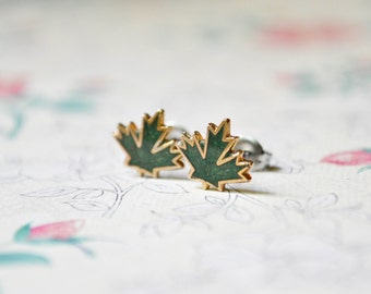 Maple Leaf Earrings - Vintage Enamel - Leaf Jewelry - Surgical Steel Earrings - Stud Earrings - Leaf Jewelry - Post Earrings - Autumn Leaves