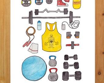 weight lifting print 8.5 x 11