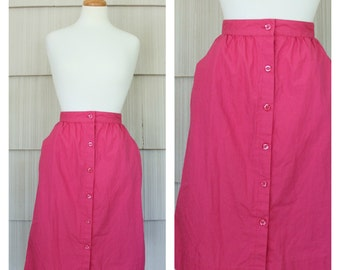 Hot Pink Magenta Button Front Cotton Midi Skirt S