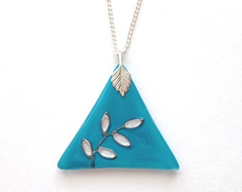 Glass Triangle Pendant in Turquoise, Silver Leaves Design, Hand Painted Necklace, Turquoise Glass Pendant