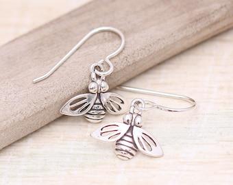 Sterling Silver Bee Earrings,  Every Day Earrings, Minimalist Earrings, Bee Earrings, Gardener Earrings