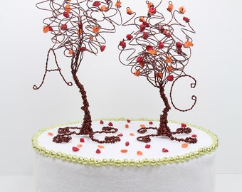 Fall Wedding Two Trees Cake Topper Custom Wire Tree Sculptures