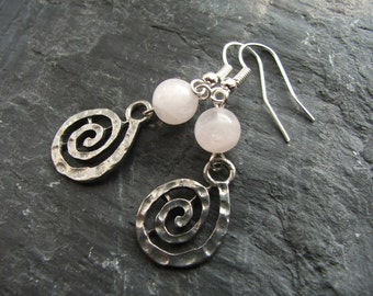 Rose Quartz Gemstone Spiral Earrings, Nickel Free Earwires, Pantone Colour of the Year 2016, Romantic Jewellery, Valentine's Day