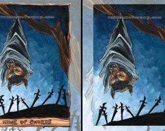 Flying Fox Bat Print, Nine of Swords Tarot Card, Halloween Decor, Night Sky, Forest Animal Illustration, Animism Tarot Deck, Large Wall Art