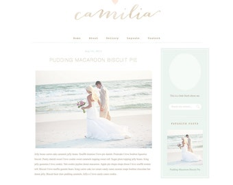 Responsive Wordpress Theme - Blog Design - Premade Wordpress Template - Mint Lace Romantic Feminine Pretty Beautiful Vintage Beach Wedding