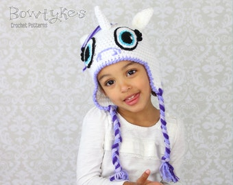 Uniorn or Pony Earflap Hat CROCHET PATTERN instant download hat beanie