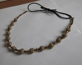 Bronze Metal Crystal Beaded Elastic Headband, for weddings, parties, evening, special occasions