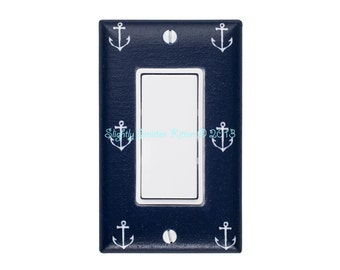 Anchor Rocker Light Switch Plate Cover / Nautical Kids Room Switchplate / Baby Boy Girl / Bathroom / Out to Sea GFCI Navy by Michael Miller