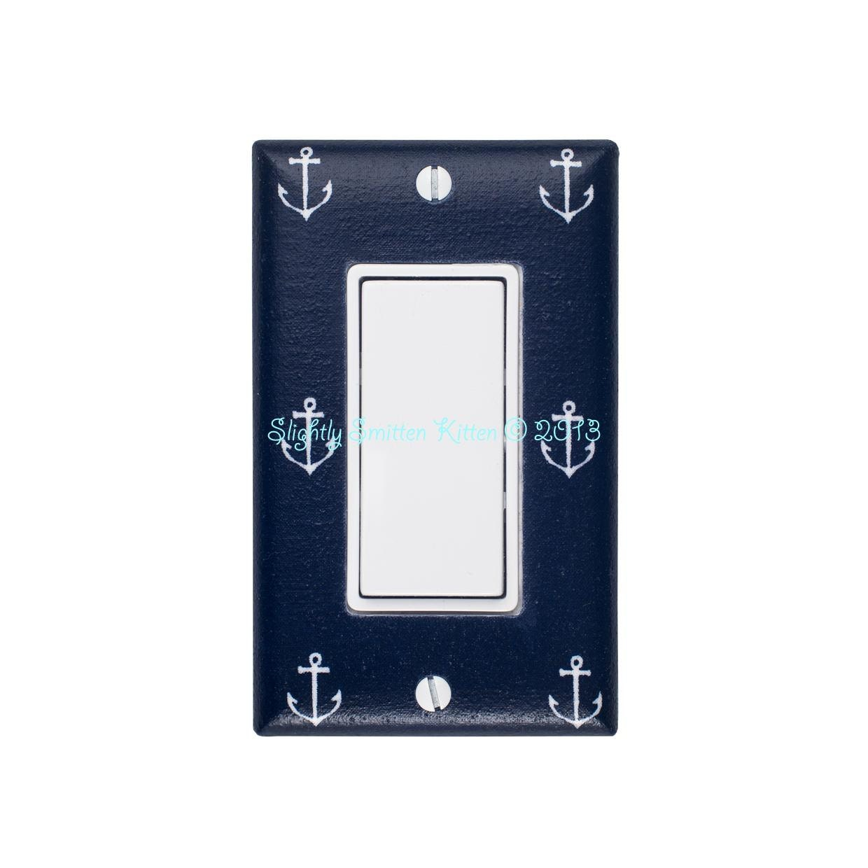Anchor Rocker Light Switch Plate Cover Nautical Kids Room
