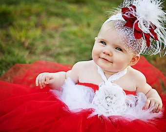 Baby Tutu Dress,  Feather Dress, Toddler Red tulle Dress, Tulle & Lace Tutu, Feather Headband