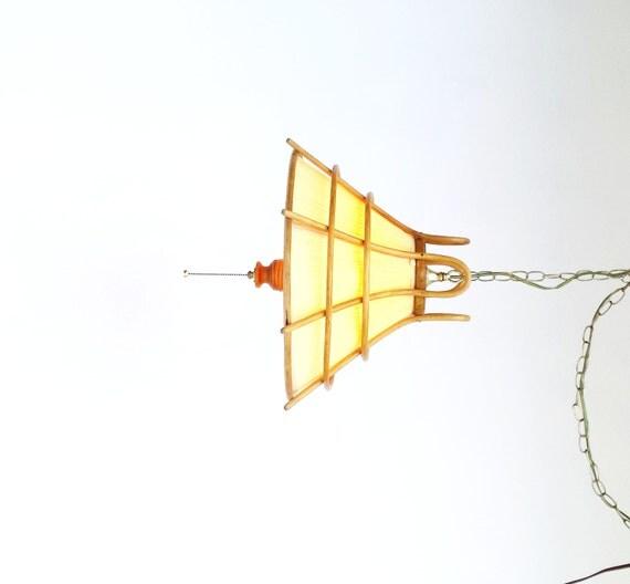 SALE Mid Century Rattan Light Fixture Hanging Pendant Light