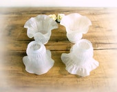 4 Vintage Frosted Glass Lamp Shades, Victorian ceiling fan chandelier lamp lights Lovely etched ruffled edge bell flower trumpet shades