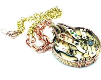 Steampunk brass and copper wire wrapped pendant, big pocket watch movement and Swarovski crystals OOAK