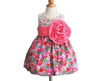 Formal Girl Dress - Large Handmade Flower - Baby Shower - Bubble Dress - Wedding - Formal Dress - Birthday - KK Children Designs - 9M to 7